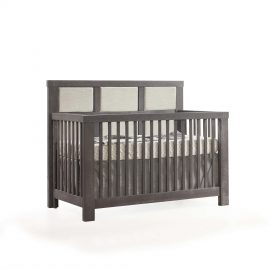 "Rustico ""5-in-1"" Convertible Crib in Grigio with Upholstered Headboard Panel in Talc"