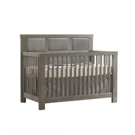 "Rustico ""5-in-1"" Convertible Crib in Owl with Upholstered Headboard Panel in Fog"