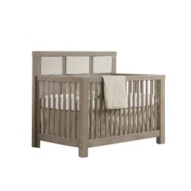 "Rustico ""5-in-1"" Convertible Crib in Sugar Cane with Upholstered Headboard Panel in Talc"